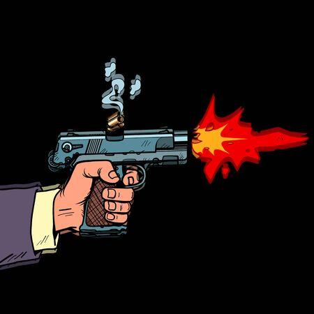 Shot from a gun comic style. Attack bullet attack. Pop art retro illustration Illusztráció