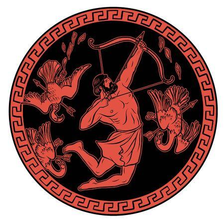 Oiseaux Stymphaliens. 12 Travaux d'Hercule Héraclès. Illustration des mythes de la Grèce antique