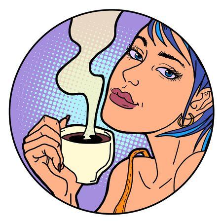 Woman with a cup of morning coffee or tea. Pop art retro illustration Illusztráció