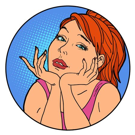 Beautiful woman with red hair. Pop art retro illustration