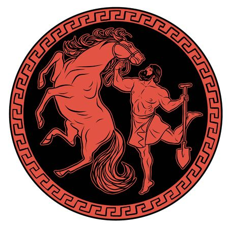 Clean the Augean stables in a single day. 12 Labours of Hercules Heracles. Myths Of Ancient Greece illustration 向量圖像
