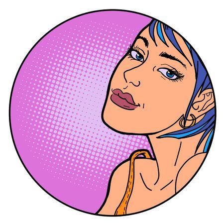Beautiful woman pop art portrait retro illustration