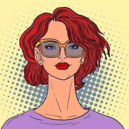 Bella mujer con pelo rojo. Ilustración retro del arte pop Ilustración de vector
