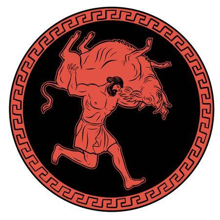 Erymanthian Boar. 12 Labours of Hercules Heracles. Myths Of Ancient Greece illustration Illusztráció