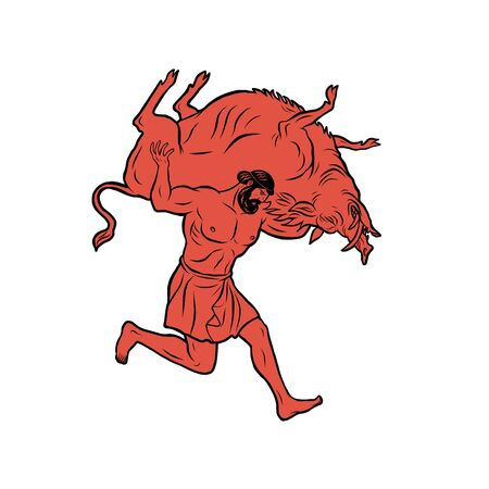 Erymanthian Boar. 12 Labours of Hercules Heracles Vettoriali