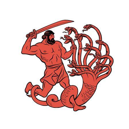 Lernaean Hydra. 12 Labours of Hercules Heracles Vettoriali