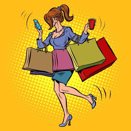 Geschäftsfrau mit Einkaufen