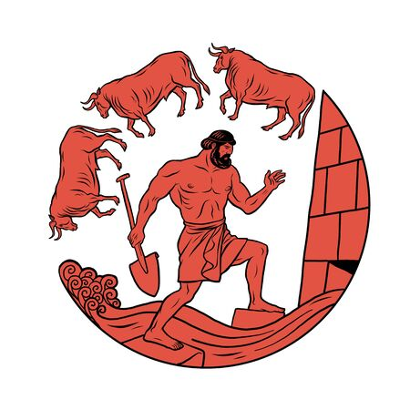 Clean the Augean stables in a single day. 12 Labours of Hercules Heracles Illustration