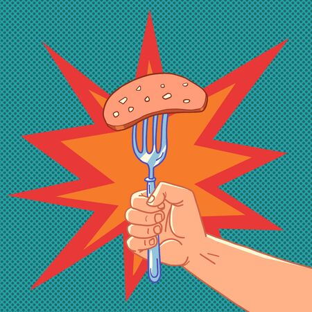 a piece of sausage, meat appetizer Vettoriali