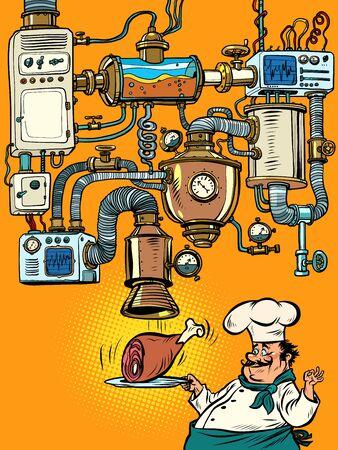 pork knuckle Fantastic comic machine conveyor Ilustración de vector