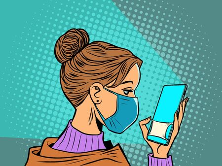 woman in medical mask reads a smartphone Vecteurs