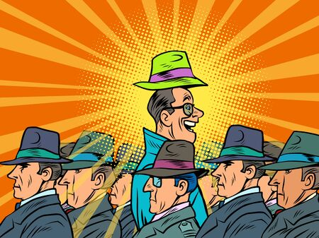 unique in the crowd. Happy man among serious. Comics caricature pop art retro illustration drawing