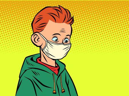 A boy in a medical mask. Comics caricature pop art retro illustration drawing