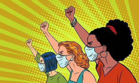African Asian Caucasian women protest coronavirus epidemic. Comics caricature pop art retro illustration drawing Ilustração Vetorial