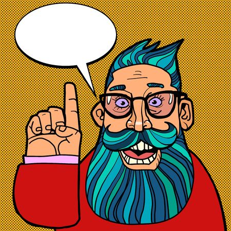 a hipster man points a gesture. Comics caricature pop art retro illustration drawing
