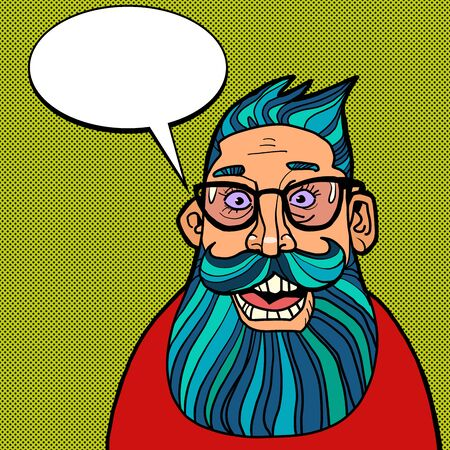 the bearded man says. Comics caricature pop art retro illustration drawing