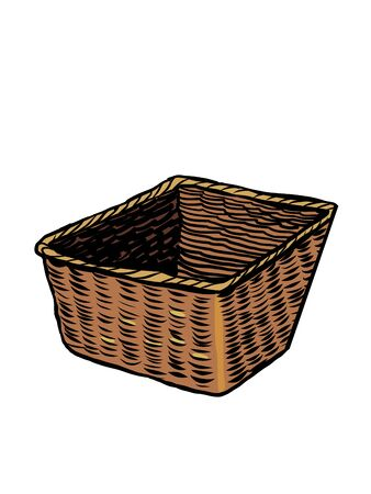 wicker basket. antique utensils. Comics caricature pop art retro illustration drawing