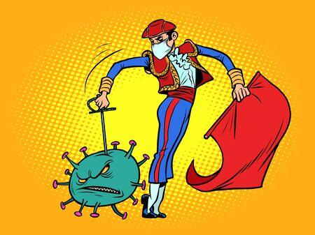 Spain victory in the epidemic of coronavirus covid19. Toreador kills the virus. Comics caricature pop art retro illustration drawing
