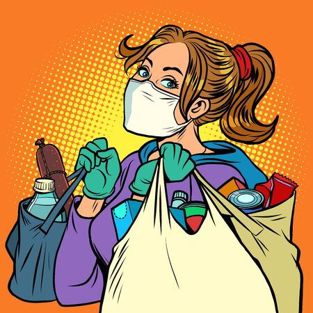 a woman in a medical mask with bags of food. Comics caricature pop art retro illustration drawing