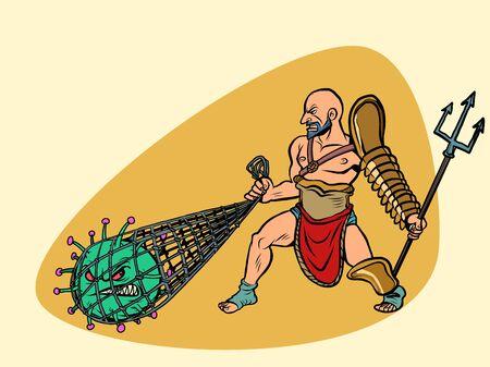 Italy victory in the epidemic of coronavirus covid19. Gladiator grabbed the virus. Comics caricature pop art retro illustration drawing