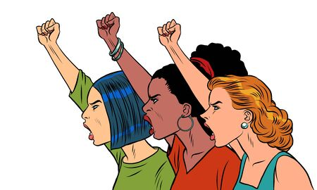 African Asian Caucasian women protest. Comics caricature pop art retro illustration drawing