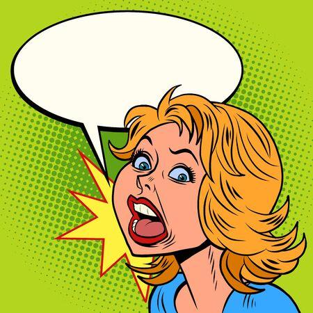 woman red hair pop art Comics caricature retro illustration drawing
