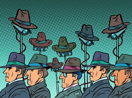 surveillance spy total video surveillance secret information privacy concept. Comics caricature pop art retro illustration drawing