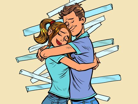 A couple of reconciliation. Husband and wife hug each other. Comics caricature pop art retro vector illustration drawing