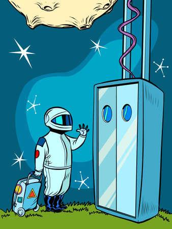 Space Elevator and an astronaut Ilustração