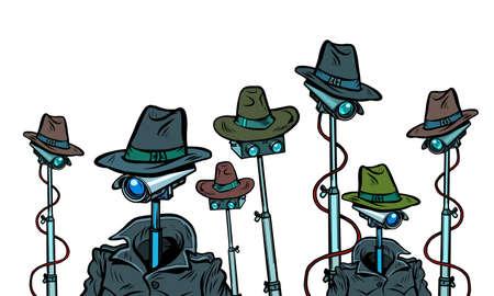 surveillance spy total video surveillance secret information privacy concept Ilustração