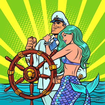 The captain of the ship and the beautiful mermaid Ilustração