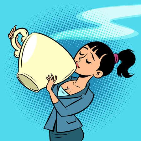 a small woman drinks a huge Cup of tea or coffee Ilustração