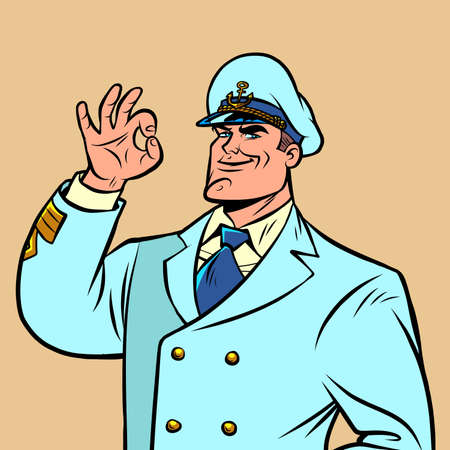 Ship captain in a white uniform