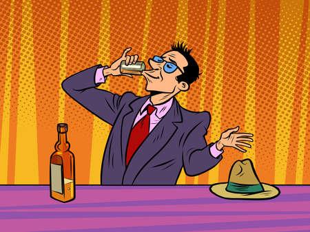 Man drinking strong alcohol in a bar, alcoholism Ilustração