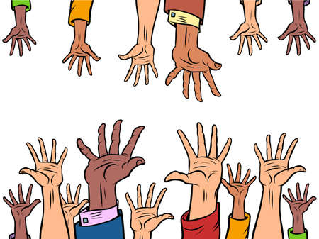 many hands reach out to each other