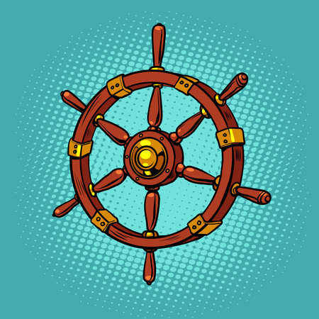 wooden steering wheel of a sea ship
