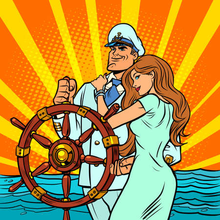 Ship captain in a white uniform with a beautiful woman Ilustração