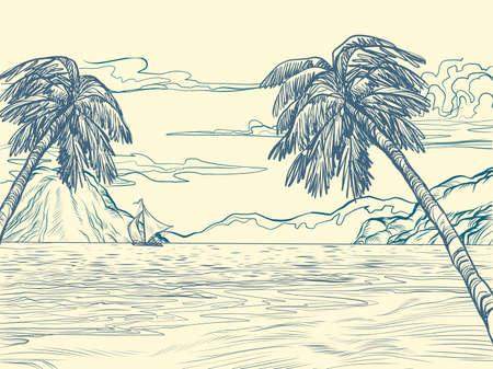 palm trees sea contour silhouette Ilustração