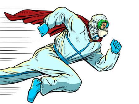 super Hero doctor runs. Covid19 coronavirus epidemic Ilustração