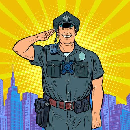 A good cop salutes. Police work Ilustração