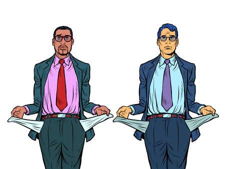Bankrupt african and caucasian businessman. A man without money Ilustração