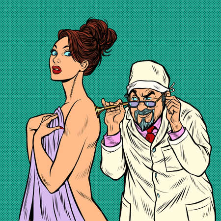 doctor with retro stethoscope listening to a female patient