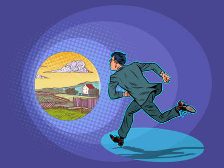Vacation. The businessman runs to the rural landscape