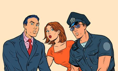 White family and police officer Illusztráció