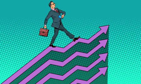 Successful businessman going up growth charts Ilustração