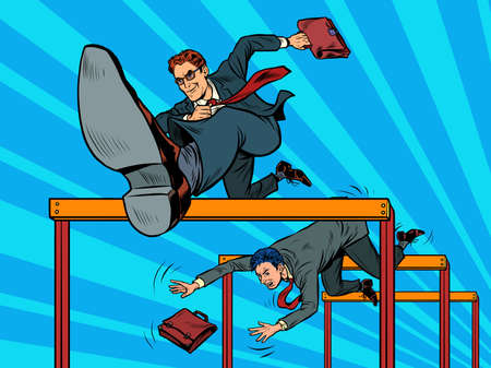 Competition businessmen jump over barriers
