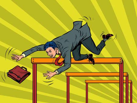 Businessman falling from a barrier Ilustração