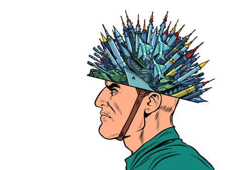 Militarism concept. A man with missiles and weapons Ilustração
