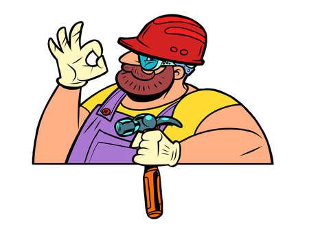 Worker with a hammer. OK gesture Ilustração