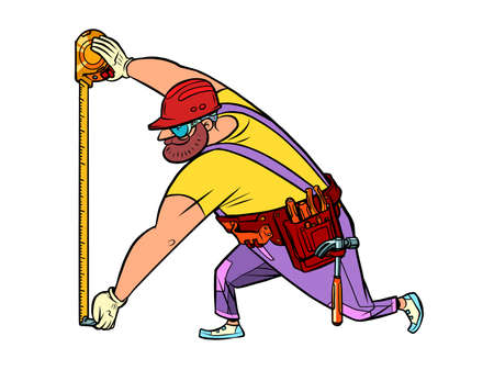 Builder with measuring tape